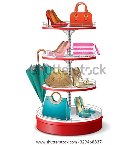 Vector Round Shelf with Female Accessories - stock vector