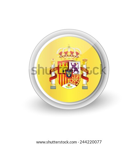 Vector rounded button icon of Coat of arms of Spain (state emblem, national emblem) - stock vector