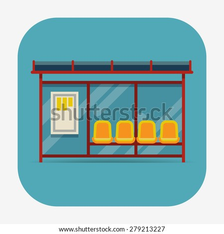 Vector rounded corners square icon on public city transportation system item bus stop, front view, isolated - stock vector
