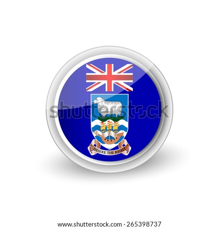 Vector rounded flag button icon of the Falkland Islands - stock vector