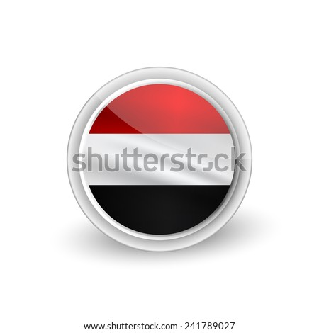 Vector rounded waving flag button icon of Yemen - stock vector