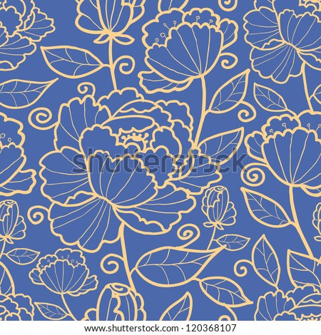 Vector royal flowers and leaves elegant seamless pattern background - stock vector