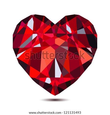 Vector ruby heart - stock vector