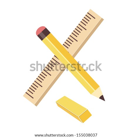 Vector Ruler Pencil and Eraser - stock vector