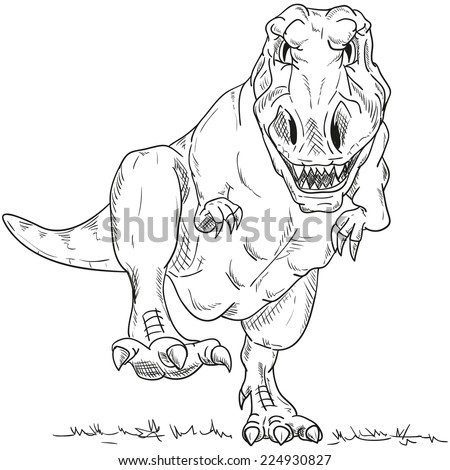 vector - run dino  T-Rex  isolated on background - stock vector