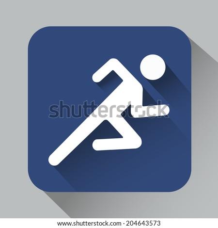Vector Running man icon shadow - stock vector