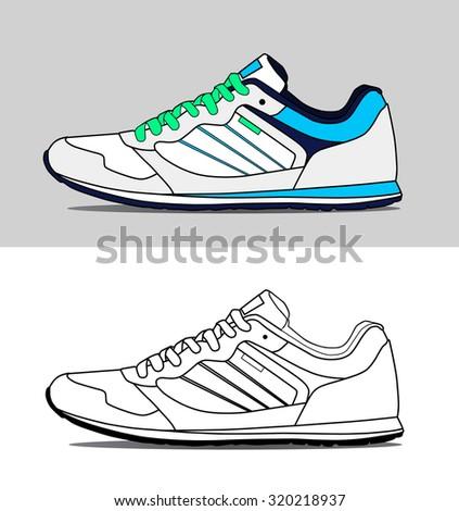 Vector running shoes - sneakers - stock vector