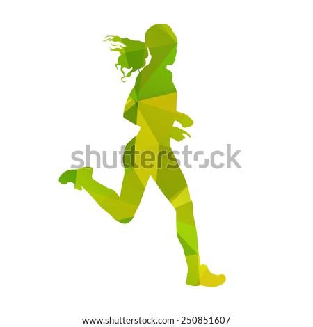 Vector running woman - stock vector