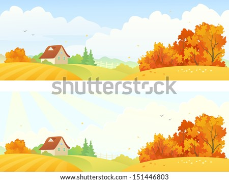Vector rural autumn banners - stock vector