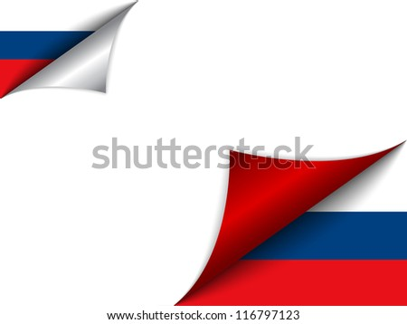 Vector - Russia Country Flag Turning Page - stock vector