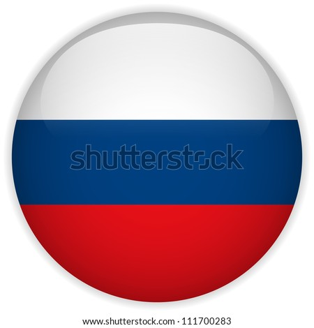 Vector - Russia Flag Glossy Button - stock vector