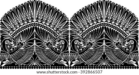 vector russian ornament withe bird - stock vector