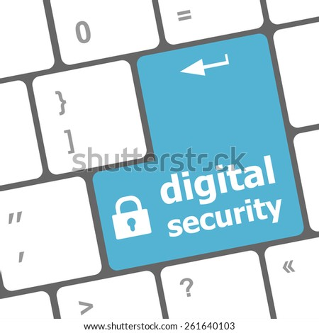 vector Safety concept: computer keyboard with digital security icon on enter button background - stock vector