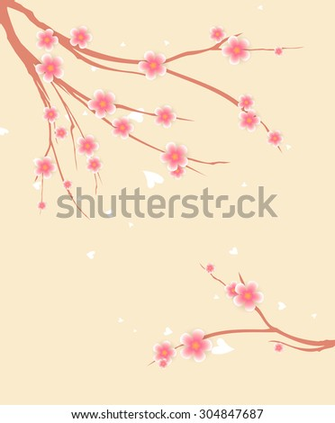 Vector Sakura background with place for text - stock vector