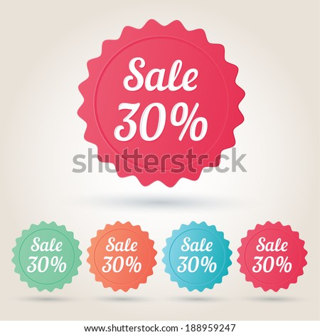 Vector sale 30% badge sticker - stock vector