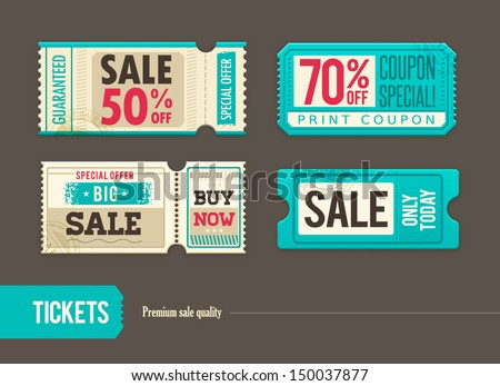Vector sale tickets - stock vector