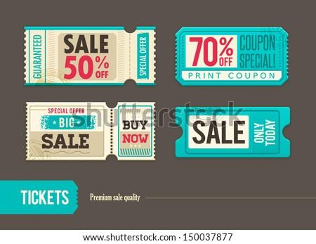 Vector sale tickets - stock vector
