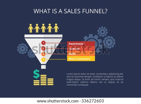 Vector sales funnel in flat style. - stock vector