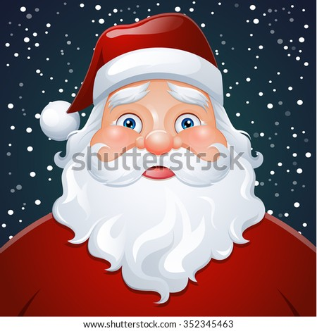 Vector Santa Claus Portrait. Christmas card poster banner.  - stock vector