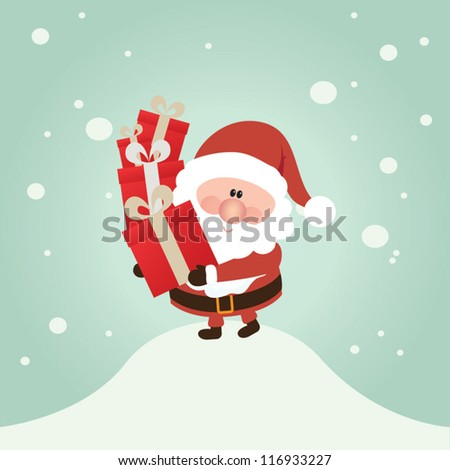 Vector Santa Claus wave.  Vector illustration for retro christmas card. Snow landscape background. - stock vector