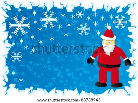 Vector Santa Claus with blue snow background and ice border - stock vector