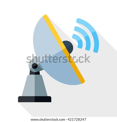 Vector Satellite Antenna icon. Satellite Antenna simple icon in flat style with long shadow on white background - stock vector