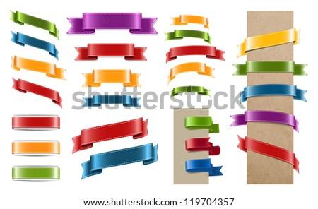 Vector satin ribbon tags collection - stock vector