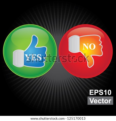 Vector : Satisfaction Concept Present By Thumb Up and Thumb Down Icon in Dark Background - stock vector