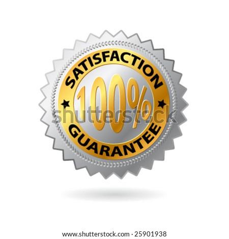 Vector satisfaction guarantee label golden label. - stock vector