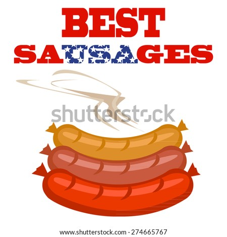 vector sausages in bright colors  - stock vector