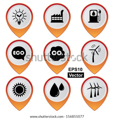 Vector : Save The Earth, Conservation, Natural or Ecology Concept Present By Set Of Orange Glossy Style Map Pointer With Nature or Ecology Sign Isolated on White Background  - stock vector