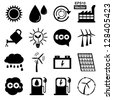 Vector : Save The Earth or Ecology Concept Present By Black Ecology Icons Set Isolated on White Background - stock vector