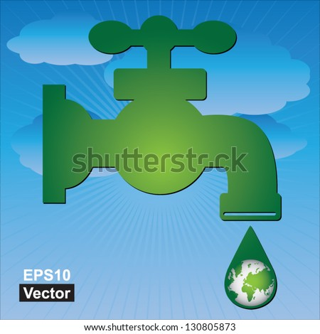Vector : Save Water Concept Present By Green Water Tap and Water Droplet With The Green Planet Earth Inside in Blue Sky Background - stock vector