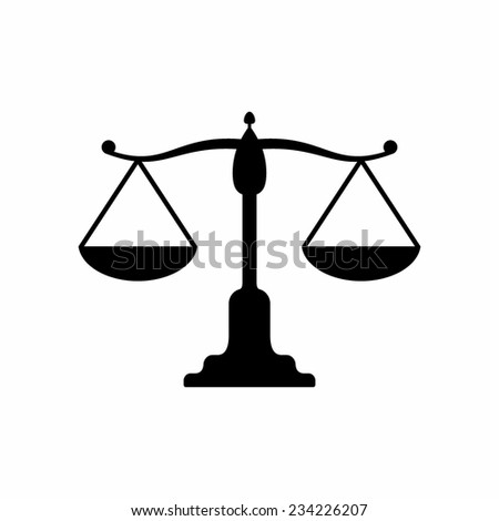 Vector scales balance icon. White silhouette of Libra - stock vector