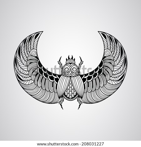 Vector scarab beetle, tattoo style, fully editable eps 10 file - stock vector