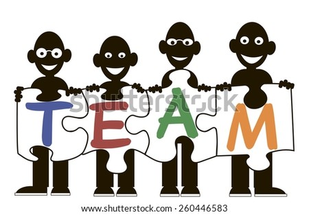 vector schematic drawing men in the team - stock vector