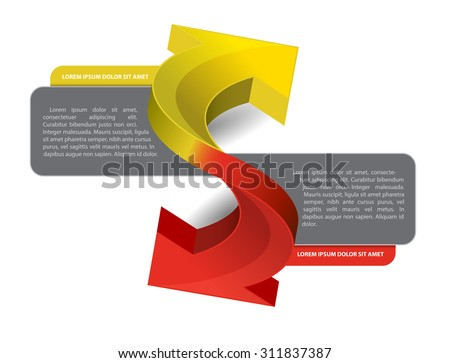 Vector scheme with two arrows and place for text - stock vector