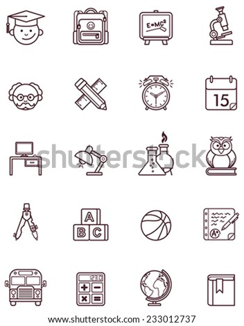 Vector school and education icon set - stock vector