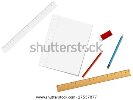 Vector. School and stationary tools isolated on  the white - stock vector