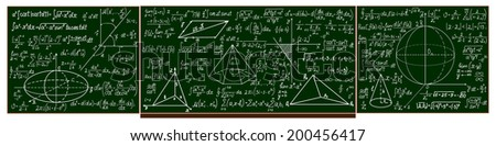 Vector school blackboard with hadwritten calculations - stock vector