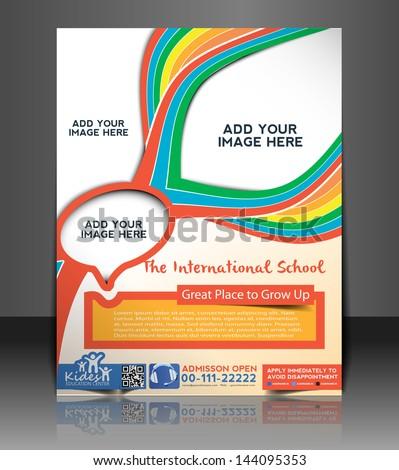 Vector School Brochure, Flyer, Magazine Cover & Poster Template - stock vector