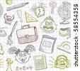 Vector school doodles seamless background - stock vector