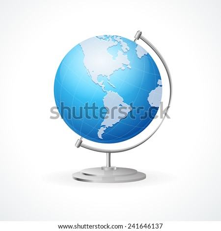 Vector school Globe isolated on white backgroind - stock vector