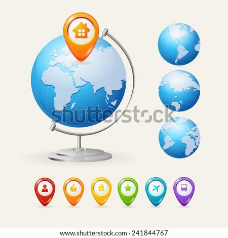 Vector school Globe set isolated on white backgroind - stock vector