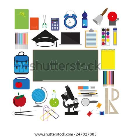 vector school supplies - stock vector