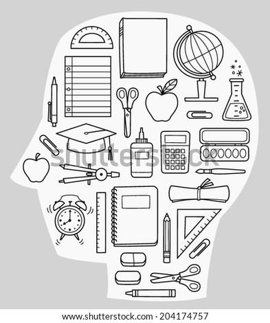 Vector School Supplies in Outline - stock vector
