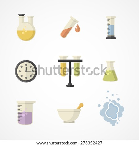 Vector science and research icons for learning and web applications .Flat design.Part I - stock vector