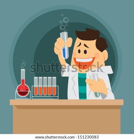 vector scientist, chemist on duty - stock vector