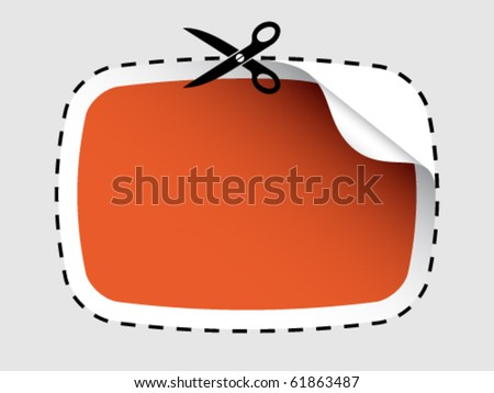 vector scissors cutting sticker - stock vector