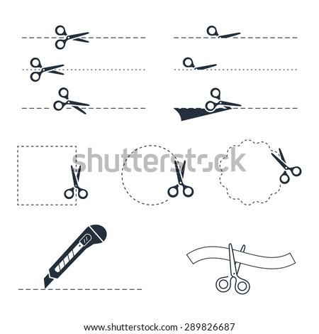 Vector scissors icon set - stock vector